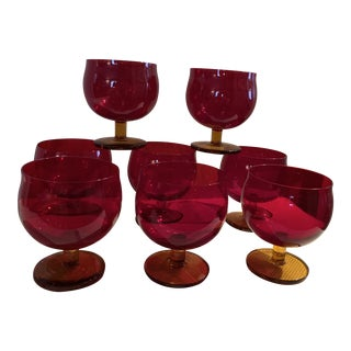 1980s Deep Red Bar Ware Glasses - Set of 8 For Sale