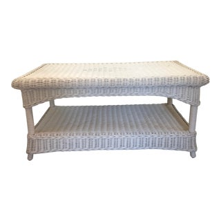 Vintage White Wicker Rattan Coffee Table Indoor/Outdoor For Sale