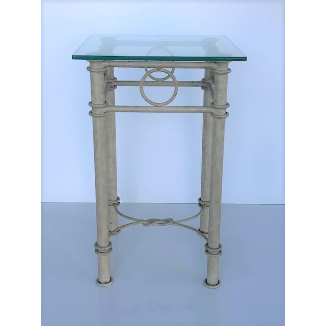 Antique White Vintage Dickinson Style Knotted Metal Pedestal For Sale - Image 8 of 9