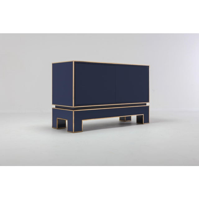 1970s Brass and Blue Two-Door Cabinet Maison Jansen For Sale - Image 5 of 12