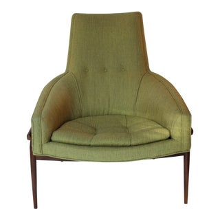 Mid-Century Modern Chartreuse Upholstered Walnut Side Chair For Sale