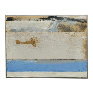 "1960s ""Western Mail Piper Plane"" Collage Painting by Robert Hartman For Sale"