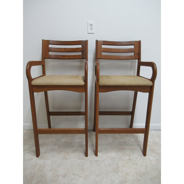 Danish Modern Teak Ladder Back Bar Counter Arm Stools - a Pair For Sale - Image 12 of 12