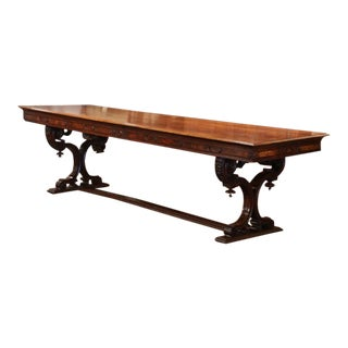 Mid-19th Century Italian Carved Walnut Renaissance Trestle Dining Room Table For Sale