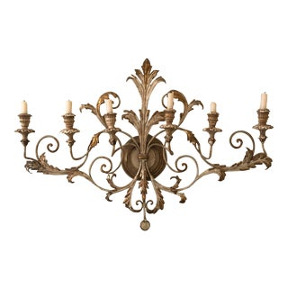 Antique Brushed Gilt Six Candle Wall Sconce