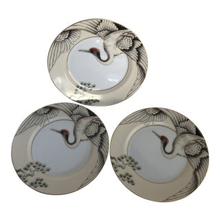 1970s Asian Fitz & Floyd Crane Porcelain Dishes - Set of 3