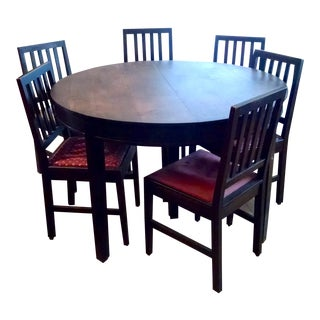 Antique Stickley Round Dining Table and 6 Chairs