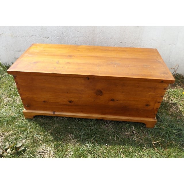 This primitive dovetailed pine hope chest is the perfect place to store extra blankets, clothes or heirlooms. Measures 49...