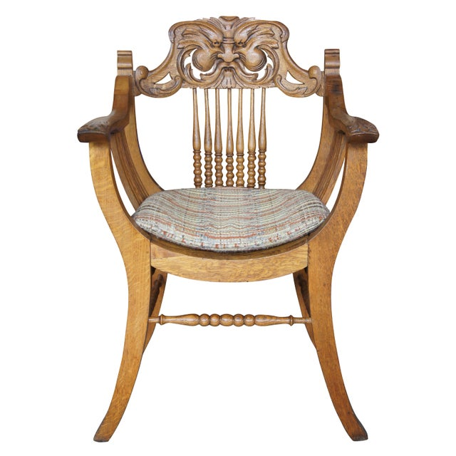 Tan Late 19th Century Antique Victorian Renaissance Revival Oak Curule Seat Chairs- Set of 5 For Sale - Image 8 of 13
