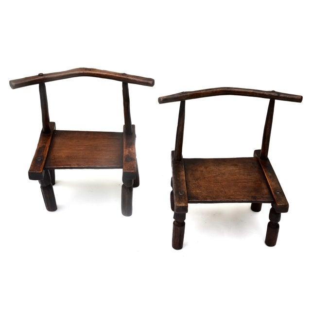 West African Senufo Carved Wood Chair Pair For Sale In Los Angeles - Image 6 of 6
