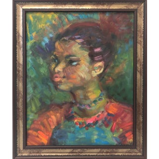 """Portrait of a Young Woman"" Oil Painting on Canvas For Sale"