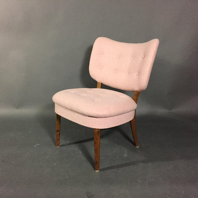 "1940s Swedish ""Emma"" Chair in Pink Felted Wool For Sale In New York - Image 6 of 9"