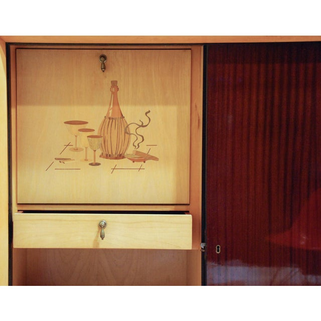 Circa 1950 Large German Exotic Wood and Glass Bar/Display Cabinet, Germany For Sale In Richmond - Image 6 of 8