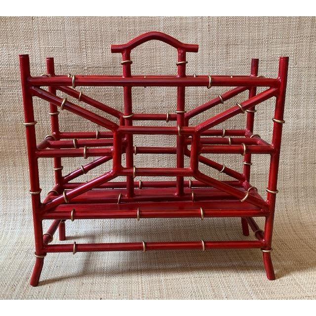 Metal Maison Bagues Style Metal Bamboo Motif Magazine Rack For Sale - Image 7 of 7