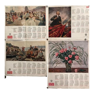 1959 Russian Calendar, Set of 4 For Sale
