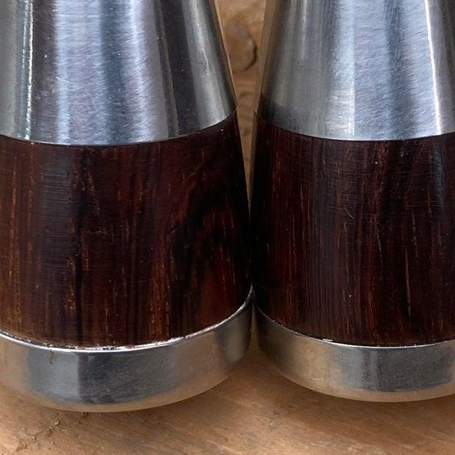 Vintage Danish Rosewood & Stainless Steel Salt & Pepper Shaker Set- a Pair For Sale - Image 9 of 13