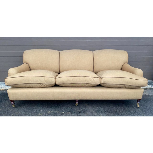 Tan George Smith Standard Arm Sofa For Sale - Image 8 of 8