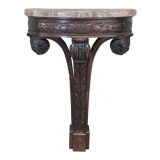 19th Century French Louis XVI Marble Top Demilune Console For Sale