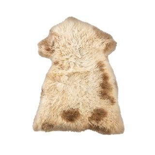 "Contemporary Long Wool Sheepskin Pelt, Handmade Rug -2'5""x3'1"" For Sale"