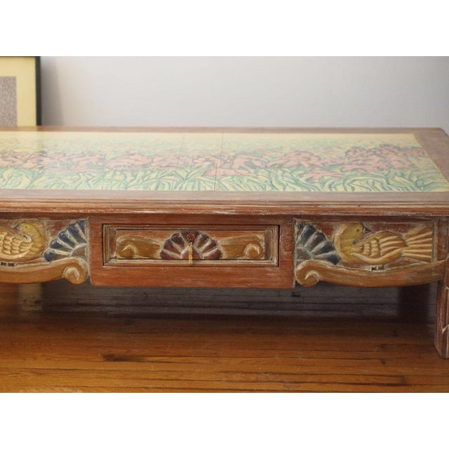 Mediterranean Disenos Caaesa Mexican Painted & Carved Coffee Table For Sale - Image 3 of 8