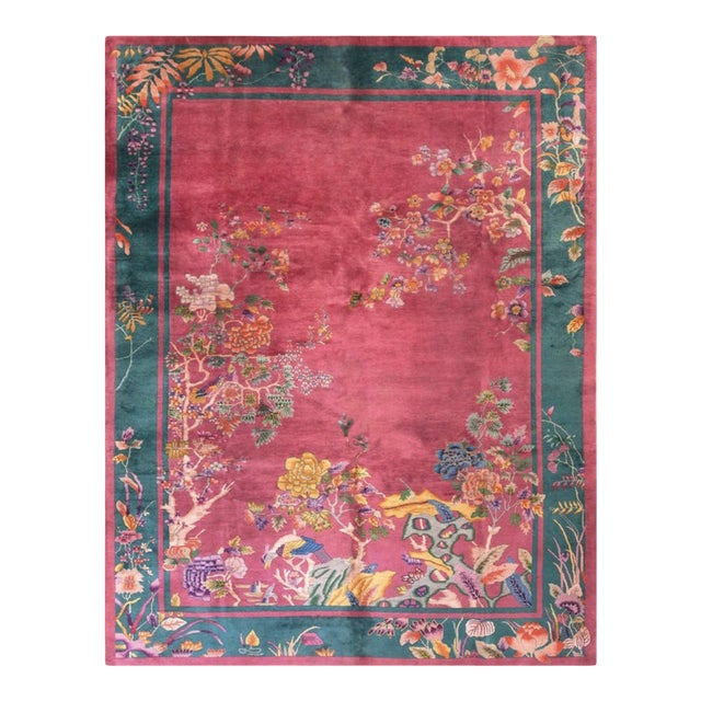 """Antique Chinese Art Deco Rug 9'0"""" X 11'8"""" For Sale"""