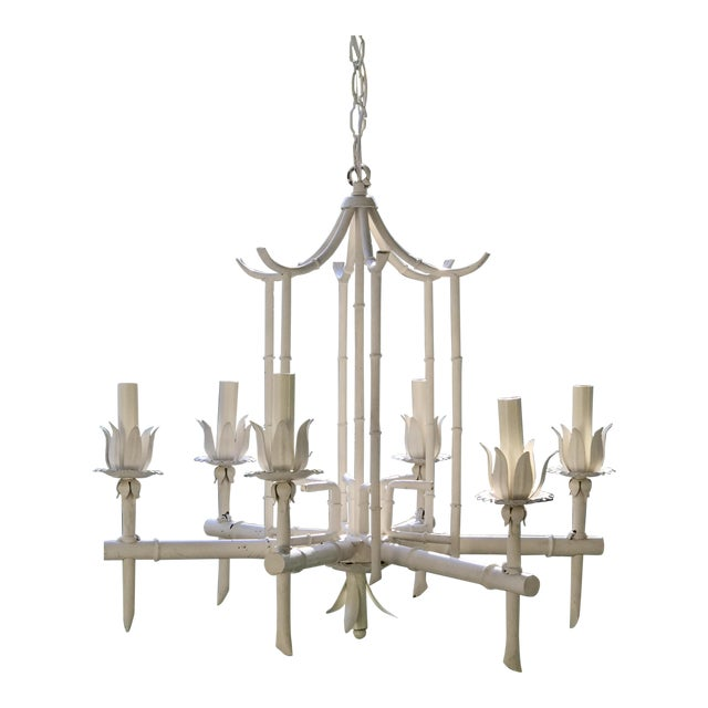 White tole metal pagoda chandelier chairish white tole metal pagoda chandelier mozeypictures Gallery
