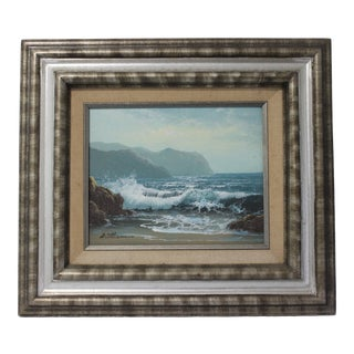 Vintage William Signed Oil Painting of Rocky Seascape For Sale