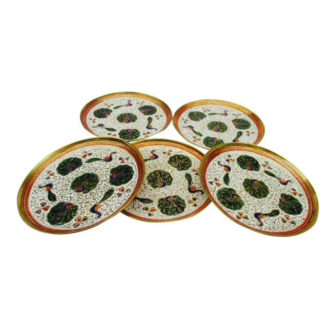 Enamel and Brass Peacock Trinket Dish Bowls - Set of 5 - Image 1 of 11