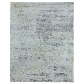 Revin Silver Hand loom Bamboo/Silk Area Rug - 12'x15' For Sale