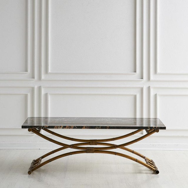 Excellent Portoro Black Marble Coffee Table With Gold Bamboo Base Ncnpc Chair Design For Home Ncnpcorg