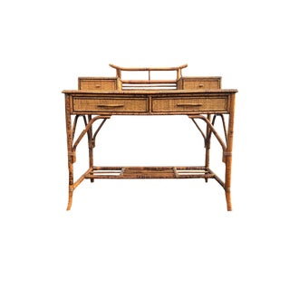 Vintage Bamboo Desk, Burnt Faux Bamboo Pagoda Campaign Style Desk / Chinoiserie Writers Desk For Sale