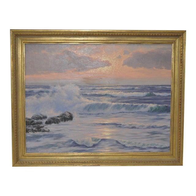 """Coastal Sunset"" Original Oil Painting by R. Lorenz - Image 1 of 8"