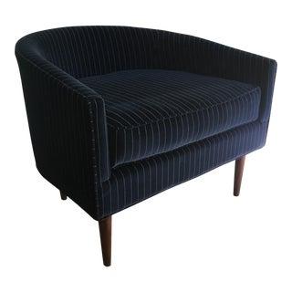 Mid-Century Modern Pinstripe Velvet Armchair For Sale