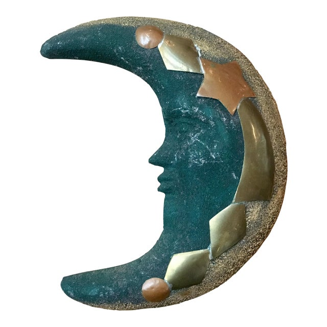 Green Terra Cotta & Brass Moon Wall Hanging - Image 1 of 4