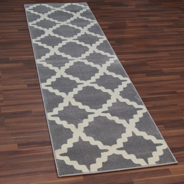Gray Trellis Patterned Rug - 2'8''x10' - Image 2 of 4