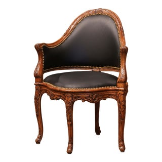 19th Century French Louis XV Carved Walnut and Black Leather Desk Armchair For Sale