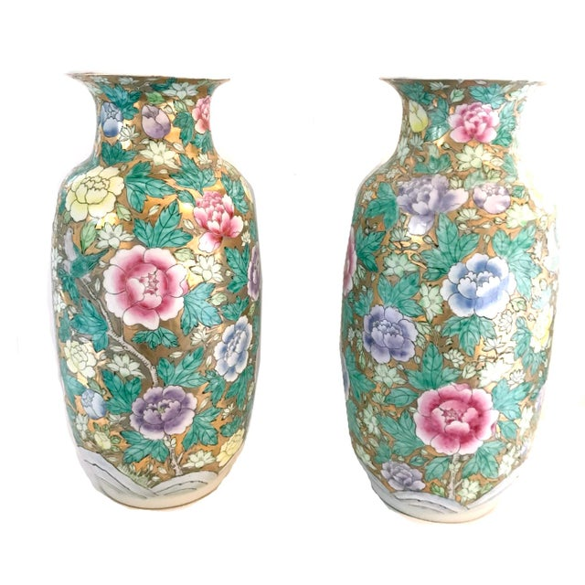 1960s Chinoiserie Floral Gold and Pastel Ceramic Vases - a Pair For Sale - Image 5 of 5