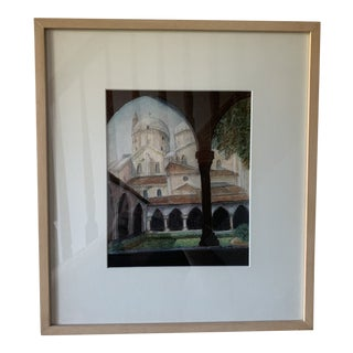 Framed Italian Church Colors Pencil on Paper Drawing For Sale