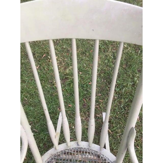 1970s Vintage Boho Light Green Wicker Rocking Chair Rocker For Sale - Image 5 of 9
