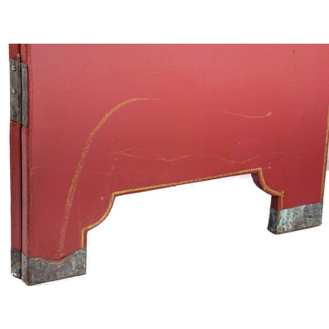 Double-Sided Leather Burgundy Red Wisteria Scene Room Divider Screen by Lawrence & Scott For Sale - Image 12 of 13
