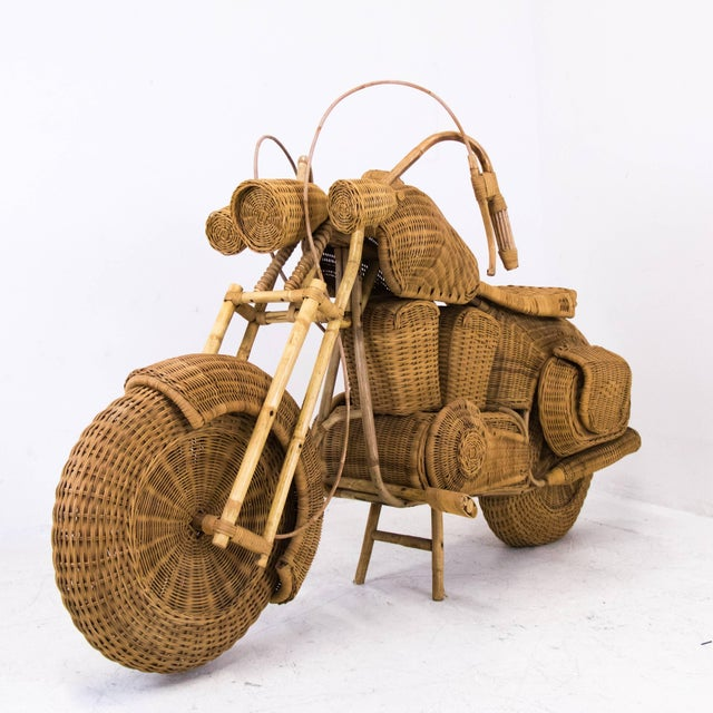 Mid-Century Modern 1960s Lifesize Woven Rattan Motorcycle For Sale - Image 3 of 9