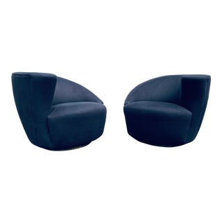 Vladimir Kagan for Weiman Nautilus Swivel Chairs- a Pair For Sale