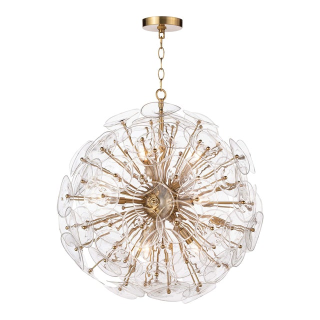 Poppy Glass Chandelier Small in Clear For Sale
