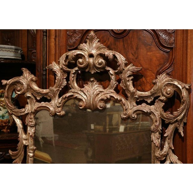 Italian Mid-Century Italian Carved Wood Silver Leaf Mirror With Antiqued Mirror For Sale - Image 3 of 7