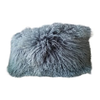 Boho Chic Gray Mongolian Fur Pillow -2 For Sale