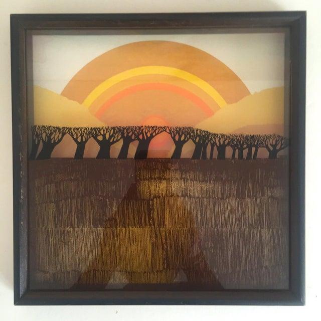 "1974 Vintage Modernist Virgil Thrasher ""Lucid Lines"" Painted Glass 3d Shadow Box Art - 3 Piece Set For Sale - Image 5 of 11"