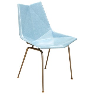 Vintage Midcentury 1960s Paul McCobb Blue Fiberglass Origami Space Age Chair For Sale