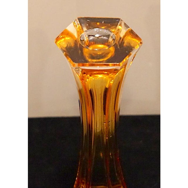 Early 21st Century Vintage Murano Art Glass Hexagonal Amber Glass Vase For Sale In New York - Image 6 of 12
