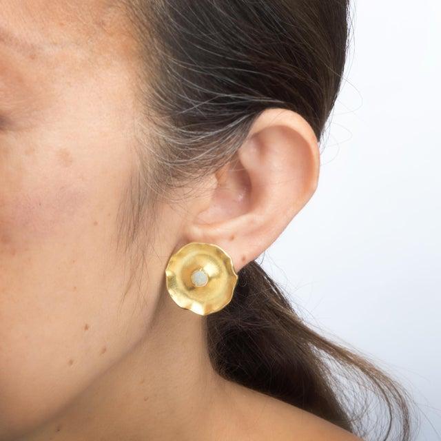 Modern 1990 Vintage Michael Banzhaf Studio 18 Karat Gold Lily Pad Opal Earrings For Sale - Image 3 of 4