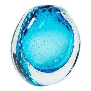 "Blue Murano Glass ""Sommerso"" Vase For Sale"
